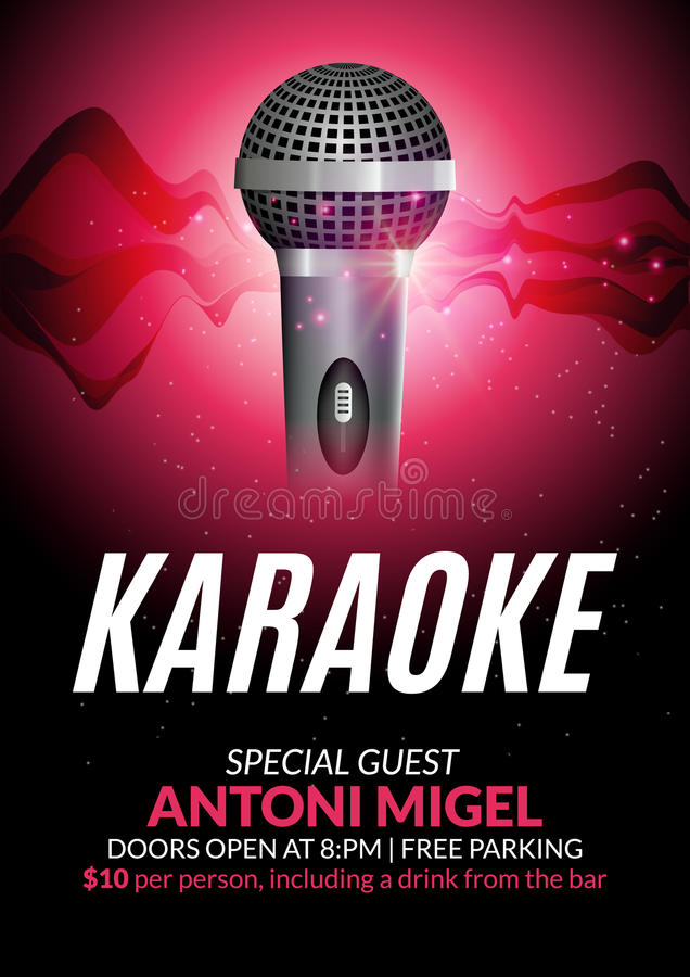 Karaoke Party Invitation Poster Design Template. Karaoke Night