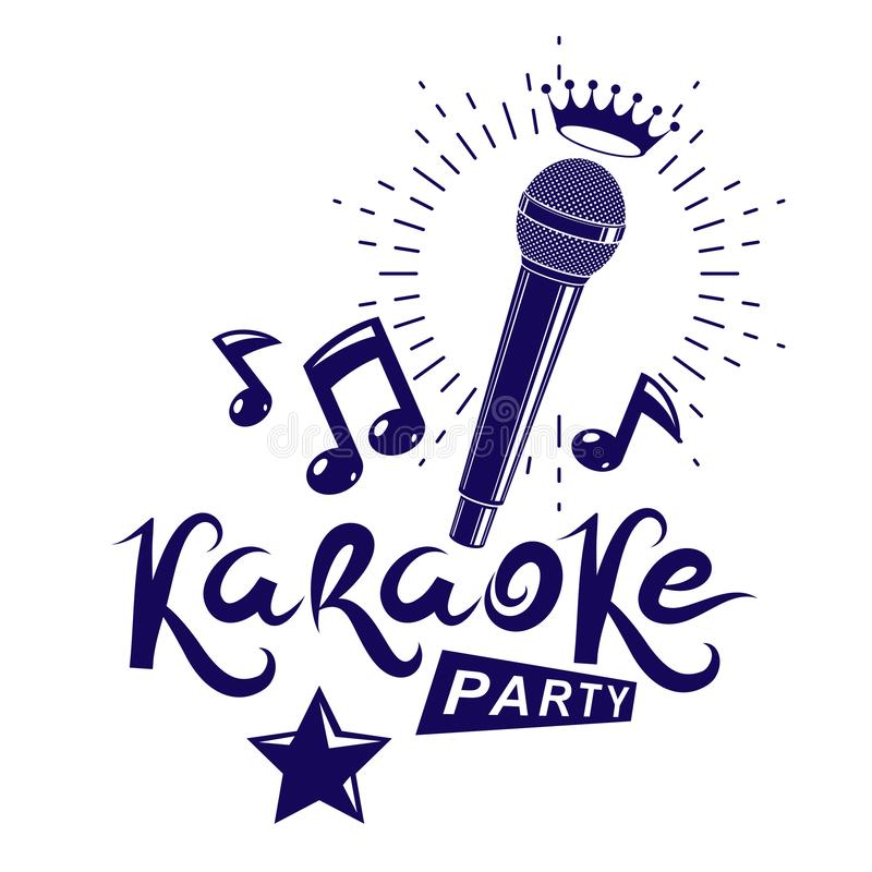 Free Karaoke Party Invitation Poster, Live Music Vector Concert Advertising Leaflet Composed Using Stage Or Recorder Microphone And Royalty Free Stock Photos - 146233868