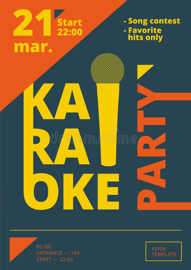 karaoke party poster or flyer template in a4 size song contest pre made layout music night. Black Bedroom Furniture Sets. Home Design Ideas
