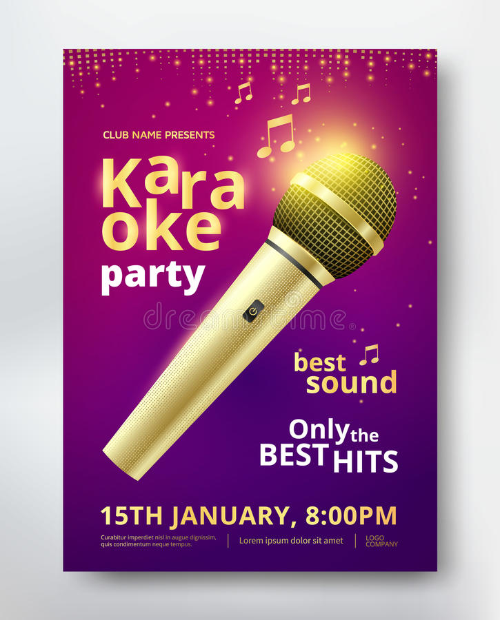 Karaoke party poster. Template design with golden microphone. Vector illustration royalty free illustration
