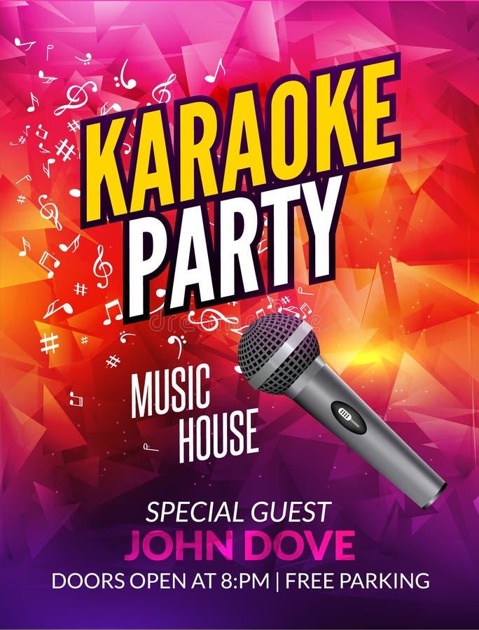 Karaoke partyjnego zaproszenia projekta plakatowy szablon Karaoke nocy ulotki projekt Muzyczny głosu koncert ilustracja wektor