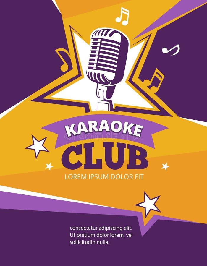 Karaoke partyjny wektorowy plakat ilustracji