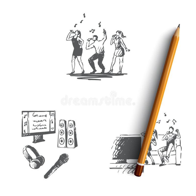Karaoke - piosenki i tanowie, rodzinny duet, karaoke akcesori?w poj?cia wektorowy set royalty ilustracja