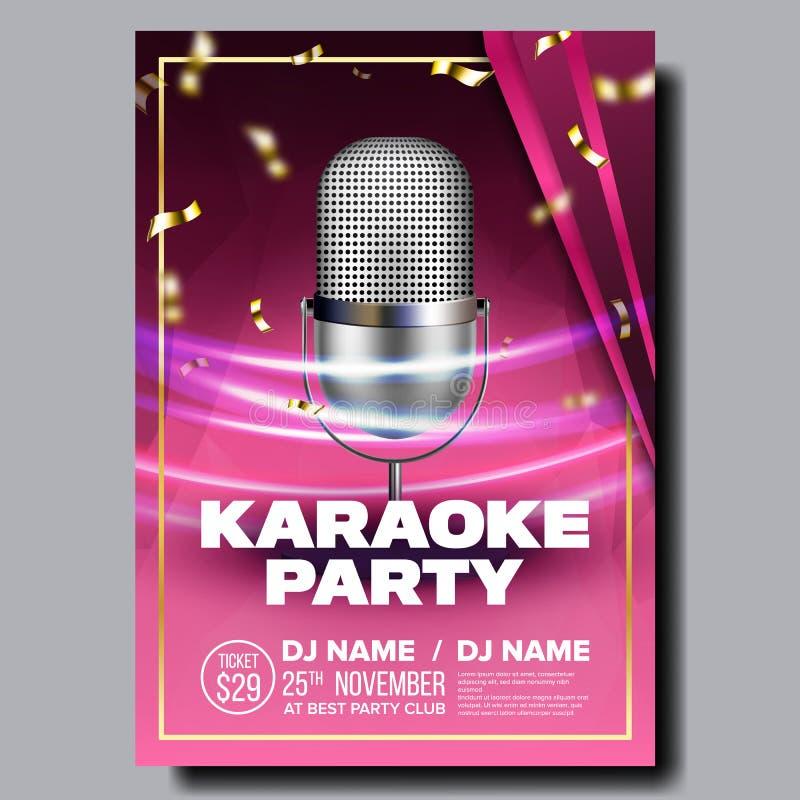 Karaoke plakata wektor Tana wydarzenie Karaoke rocznika studio Musicalu rejestr prętowy stary Gwiazdowy przedstawienie nowoczesne royalty ilustracja