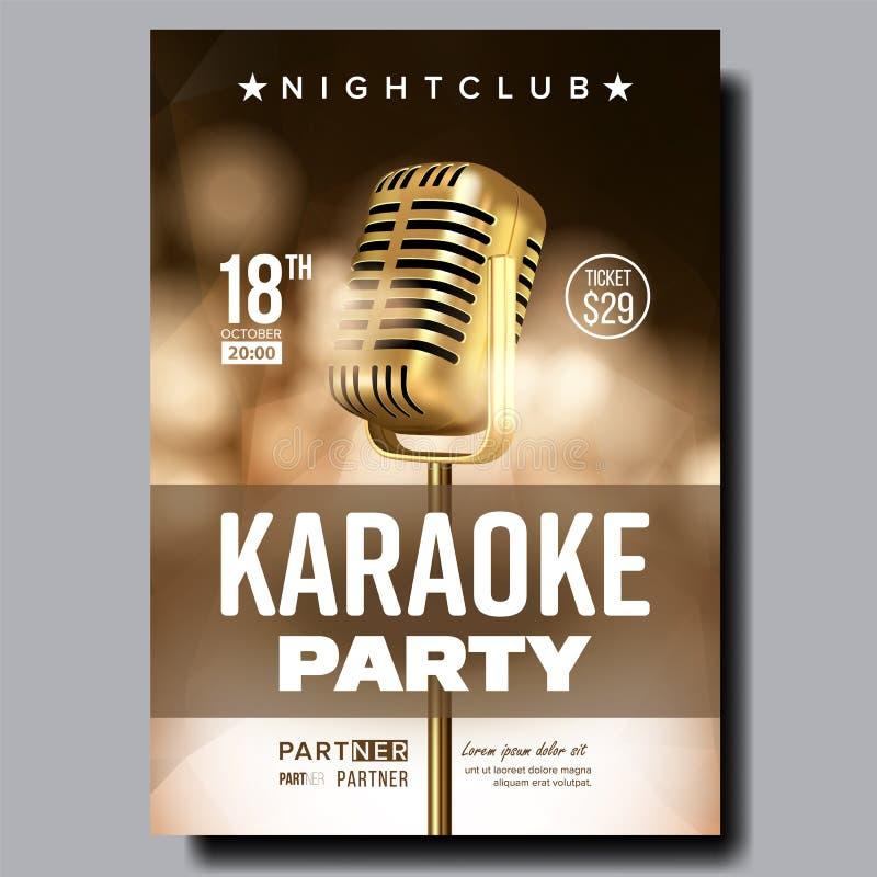 Karaoke Poster Vector. Vintage Karaoke Studio. Musical Record. Broadcast Object. Communication Style. Abstract Template stock illustration