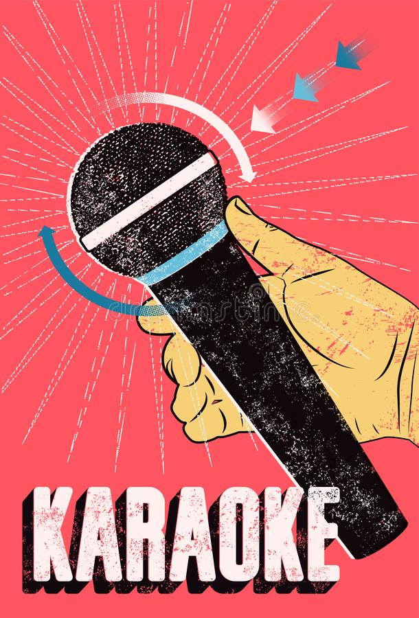 Karaoke rocznika grunge Partyjny typograficzny plakat retro ilustracyjny wektora royalty ilustracja