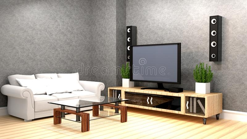 Mock up Karaoke room Modern red style with Tv and Loudspeaker. 3D rendering. Karaoke room Modern red style with Tv and Loudspeaker. 3D rendering vector illustration