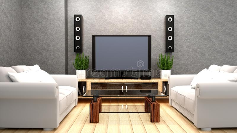 Mock up Karaoke room Modern red style with Tv and Loudspeaker. 3D rendering. Karaoke room Modern red style with Tv and Loudspeaker. 3D rendering royalty free illustration