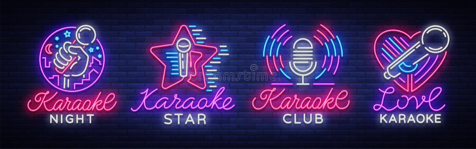 Karaoke set of neon signs. Collection is a light logo, a symbol, a light banner. Advertising bright night karaoke bar stock illustration