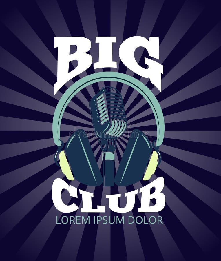 Karaokeclub, het audioembleem van de verslagstudio met microfoon en hoofdtelefoons vector illustratie
