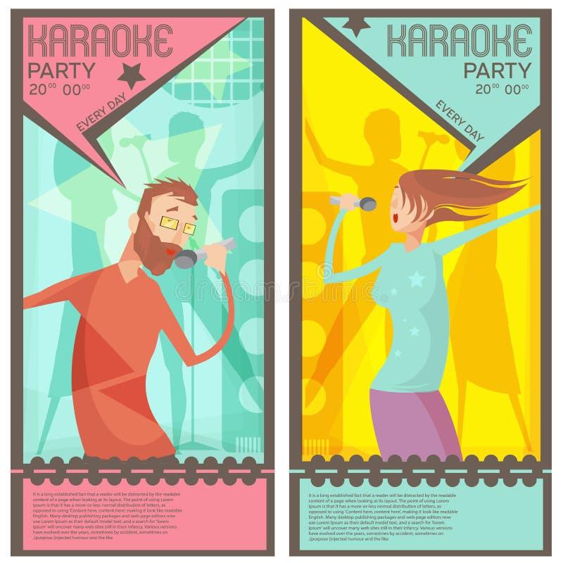 Karaokepartibiljetter stock illustrationer