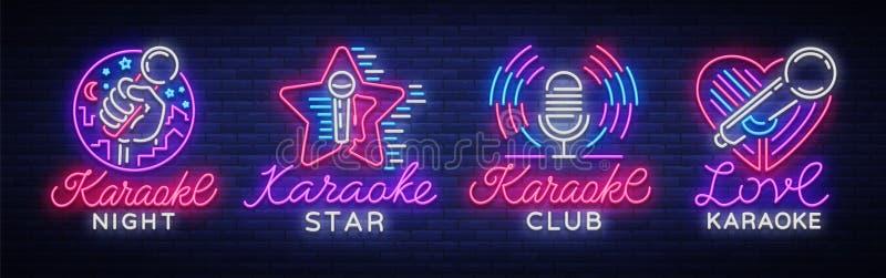Karaokereeks neontekens De inzameling is een licht embleem, een symbool, een lichte banner De adverterende heldere bar van de nac stock illustratie