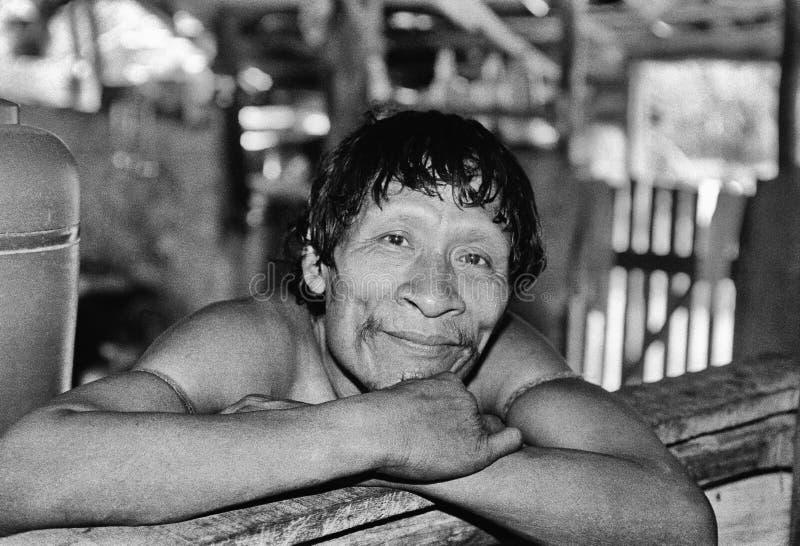 Karapiru, indiano nativo Awa Guaja de Brasil imagens de stock