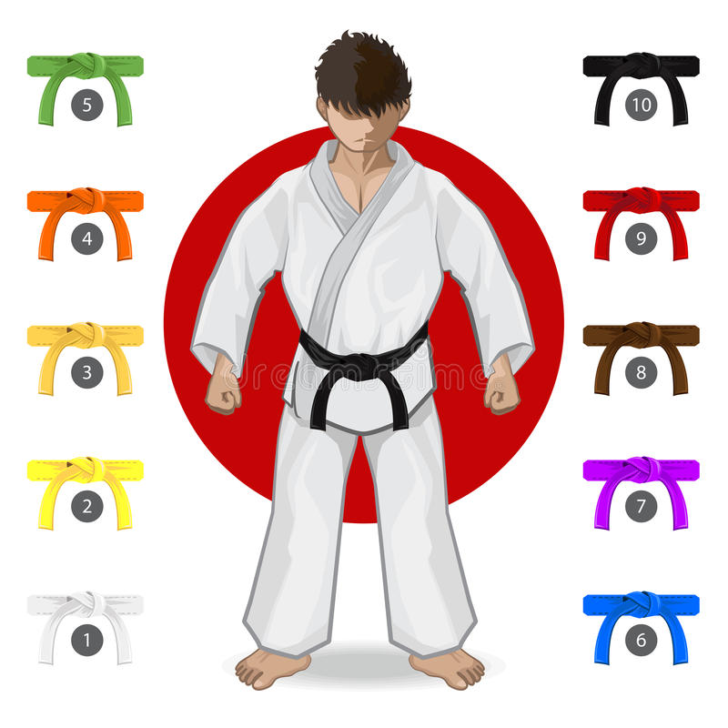 KARATÉ Art Belt Rank System martial illustration stock