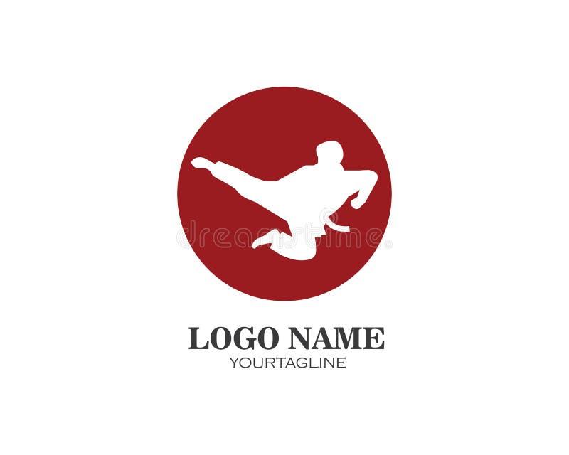 karaté, calibre d'illustration de vecteur de logo de coup-de-pied du Taekwondo illustration stock
