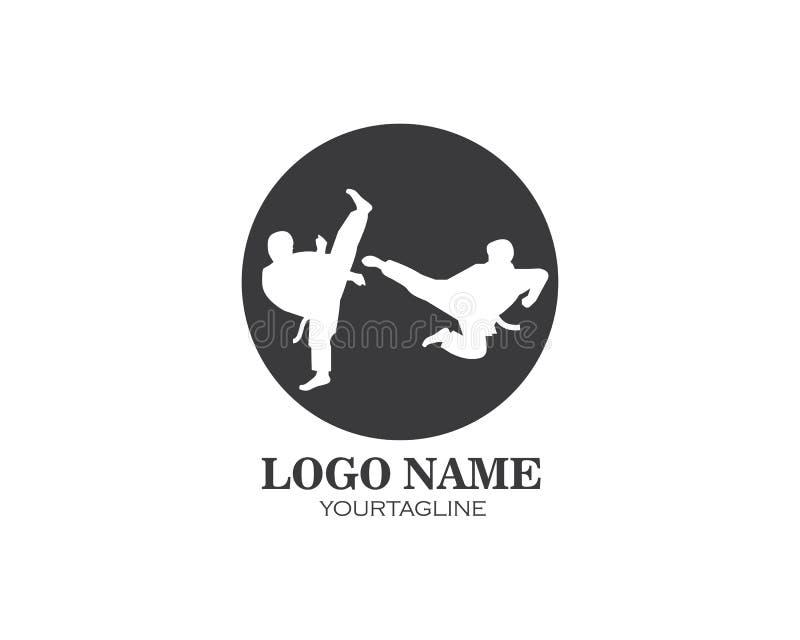 karaté, calibre d'illustration de vecteur de logo de coup-de-pied du Taekwondo illustration libre de droits