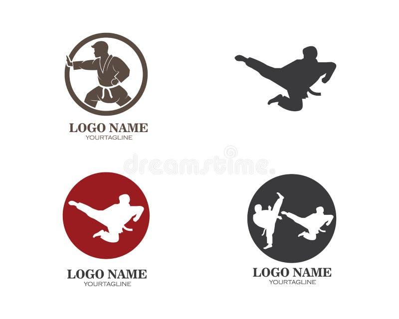 karaté, calibre d'illustration de vecteur de logo de coup-de-pied du Taekwondo illustration de vecteur