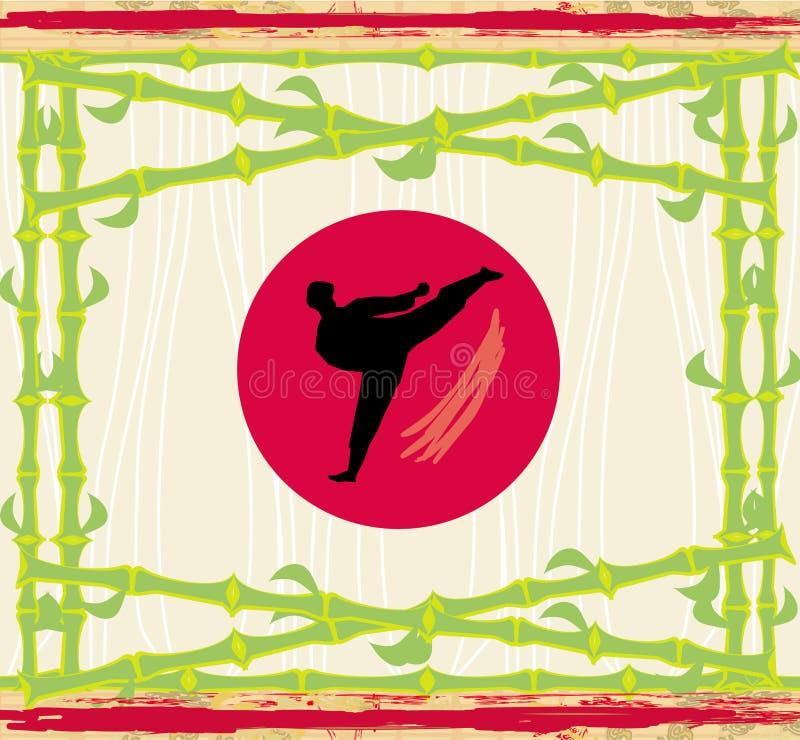 Karaté - carte abstraite, cadre en bambou illustration stock