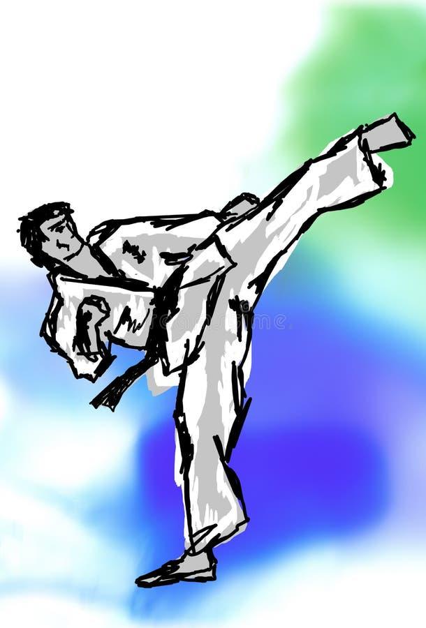 KARATÉ, COUP-DE-PIED élevé du Taekwondo illustration libre de droits
