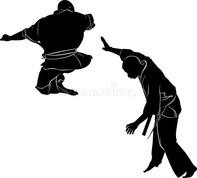 Karaté de Kyokushinkai Silhouette d'un karateka faisant le coup-de-pied latéral debout illustration libre de droits