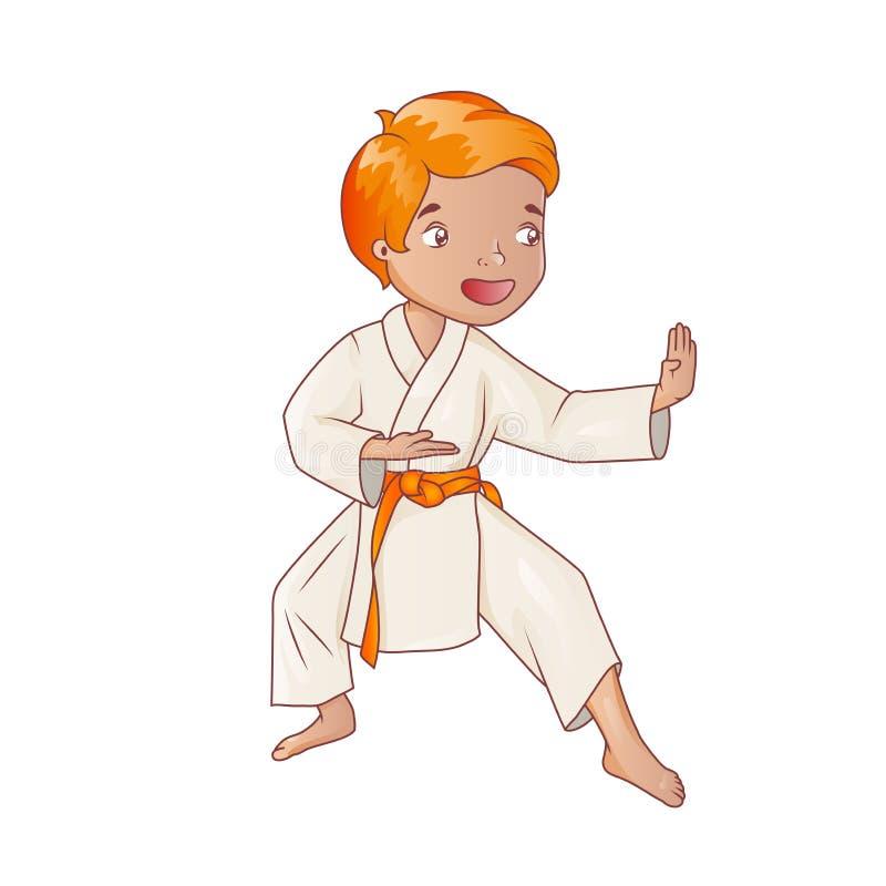 Karaté de pratique de port de kimono de petit garçon illustration libre de droits