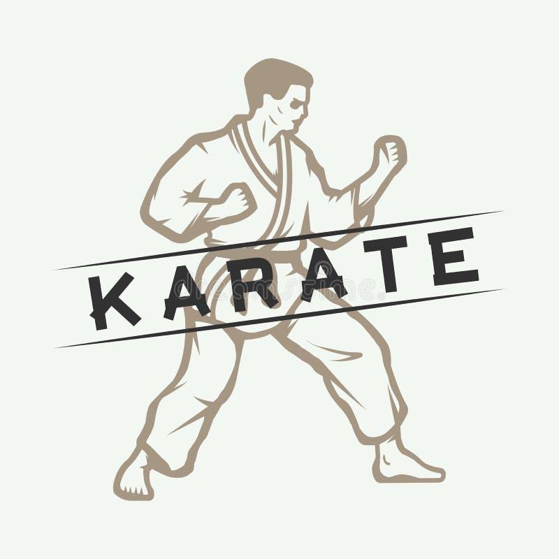 Karaté de vintage ou éléments de logo, d'emblème, d'insigne, de label et de conception d'arts martiaux illustration de vecteur