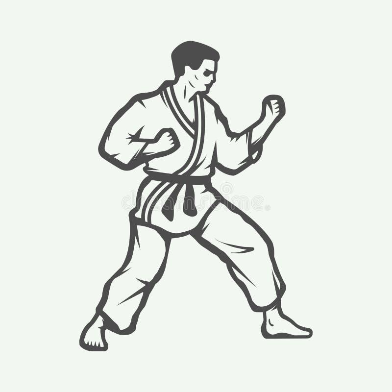 Karaté de vintage ou logo d'arts martiaux, emblème, insigne, label illustration de vecteur