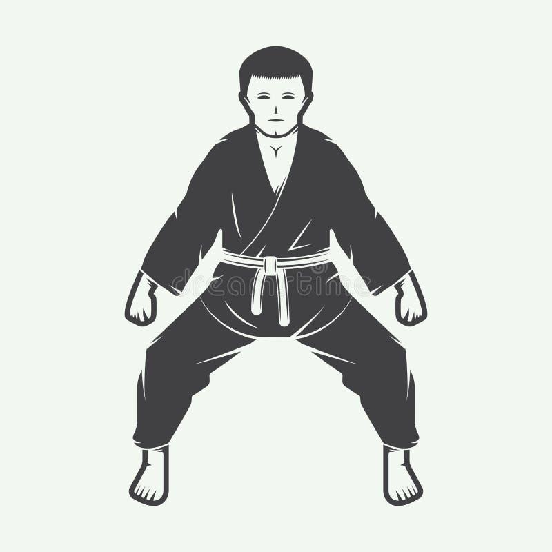 Karaté de vintage ou logo d'arts martiaux, emblème, insigne, label illustration stock