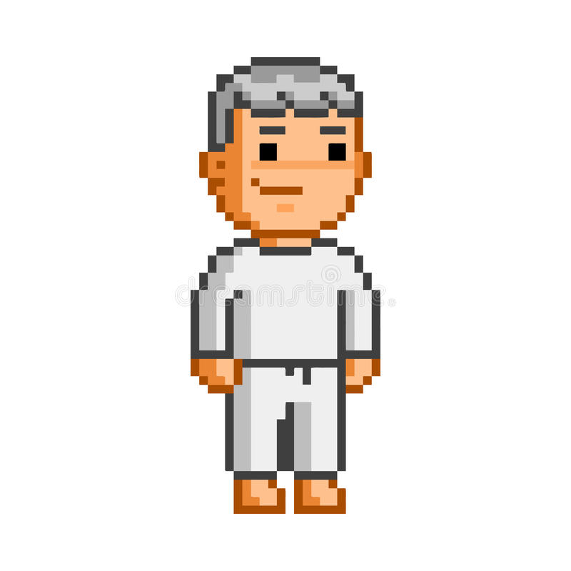 Karaté drôle de rétro art de pixel de vecteur illustration stock