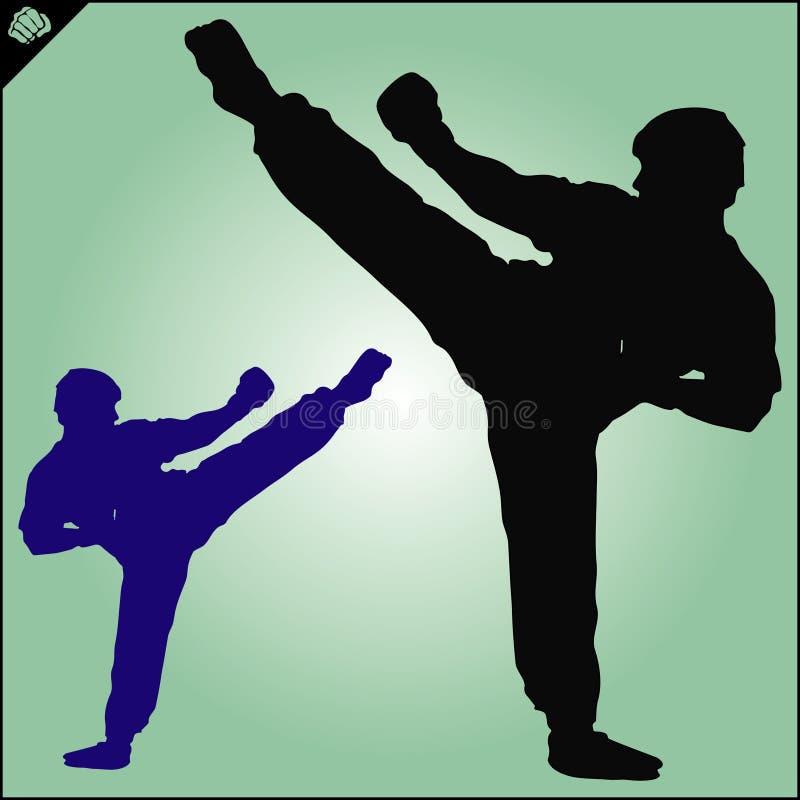 karaté Le Taekwondo Kung-fu Énergie élevée enfants chinois de KONGFU Vecteur illustration stock