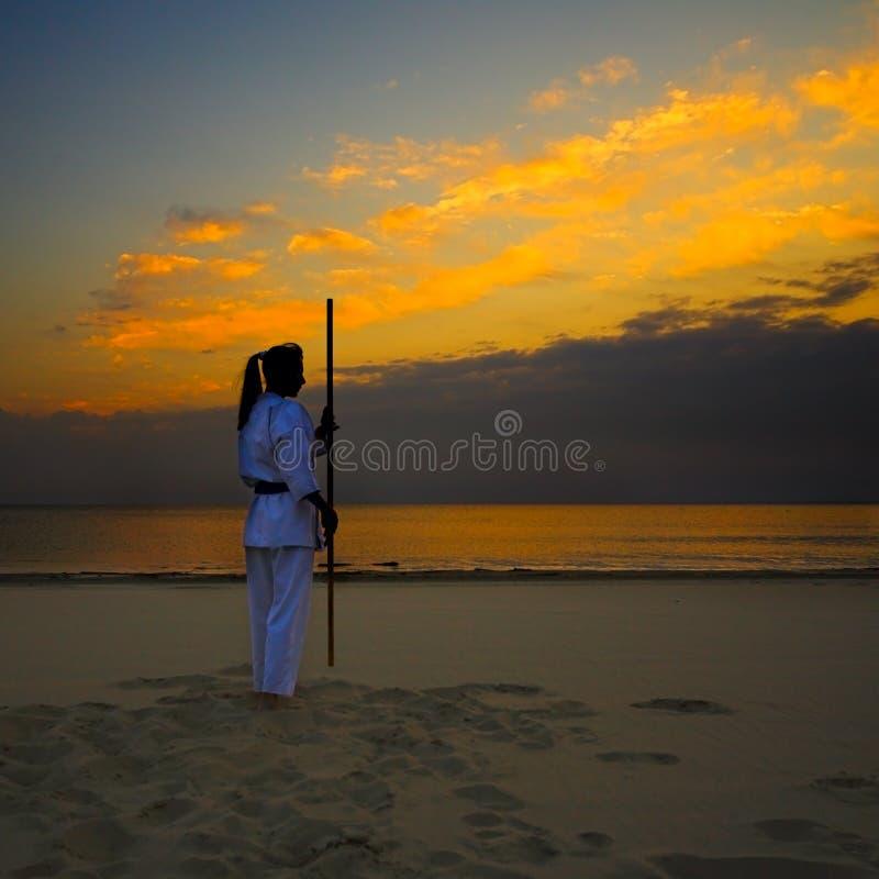 Karaté na praia do por do sol imagens de stock