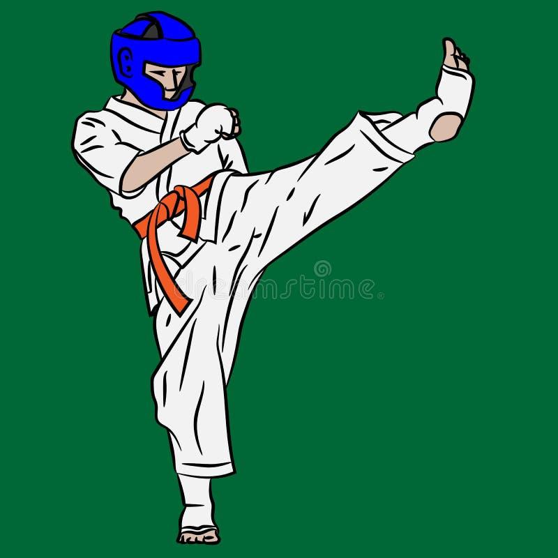 Karaté ou Taekwondo Combat dans l'action de vecteur Coup-de-pied de l'art 3d illustration stock
