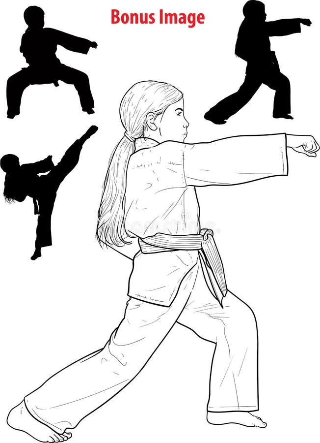 Karaté praticando da menina ilustração royalty free