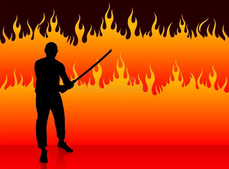 Karaté Sensei avec l'épée sur le fond du feu illustration de vecteur