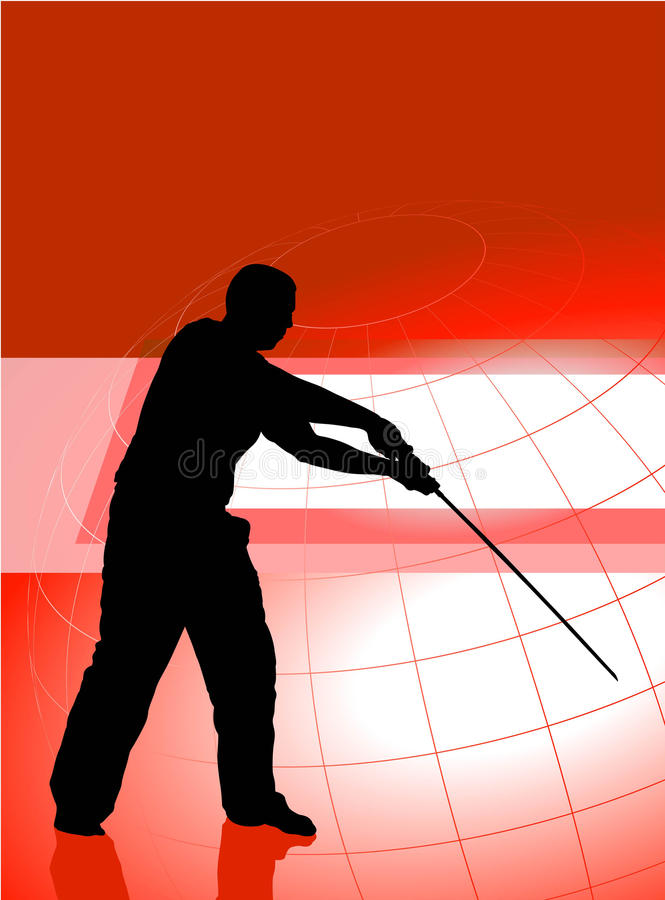 Karaté Sensei avec l'épée sur le fond rouge d'affaires illustration de vecteur