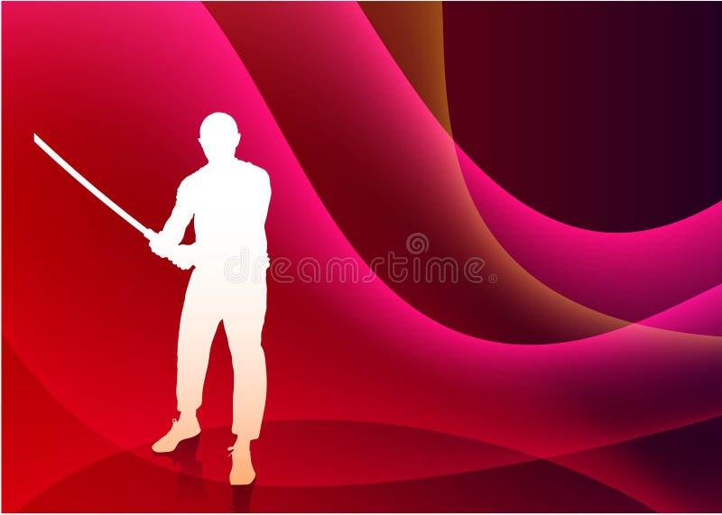 Karaté Sensei avec l'épée sur Violet Wave Background abstraite illustration stock