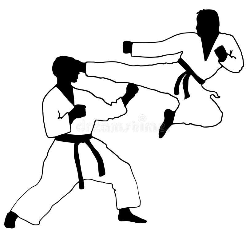 karaté sport Sautez le coup-de-pied illustration de vecteur