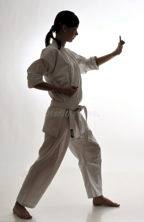 Karate άσκησης κοριτσιών στοκ φωτογραφία με δικαίωμα ελεύθερης χρήσης
