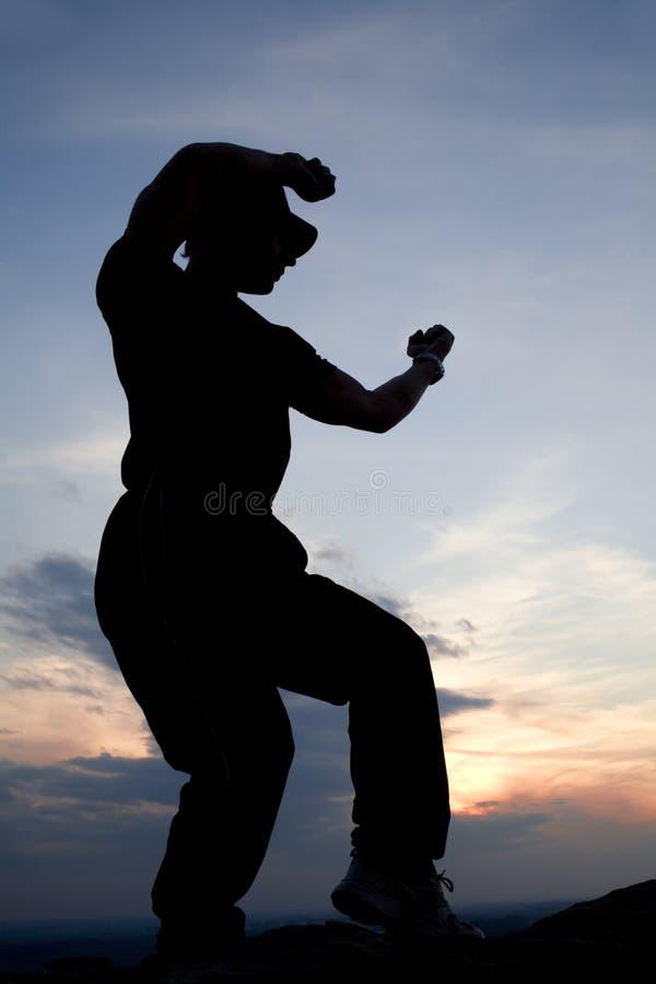 karate βραδιού κατάρτιση στοκ εικόνα