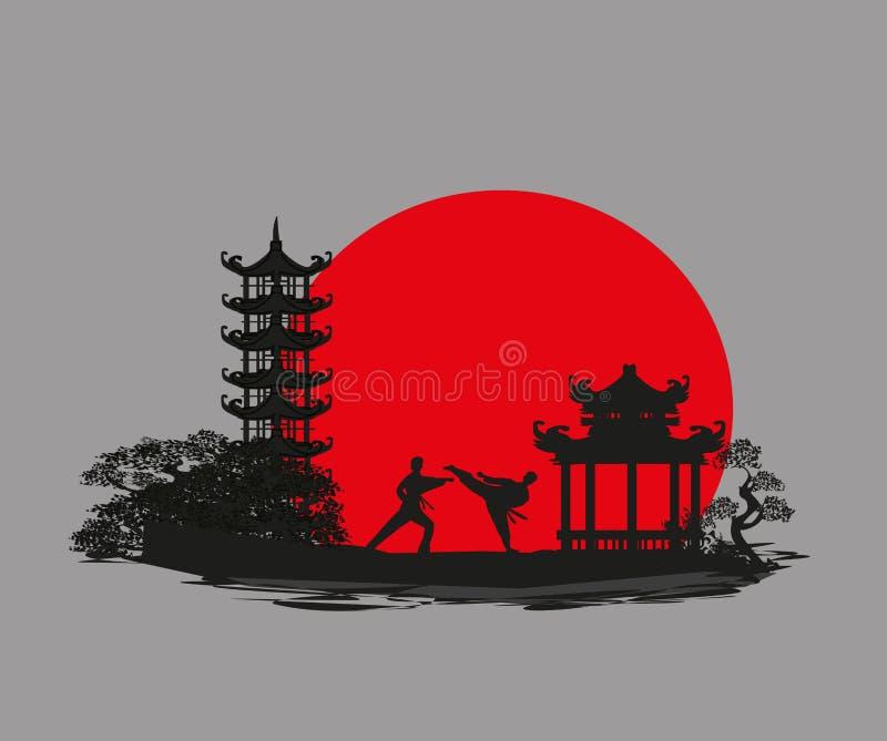 Karate επαγγέλματα - κάρτα αφαίρεσης ελεύθερη απεικόνιση δικαιώματος