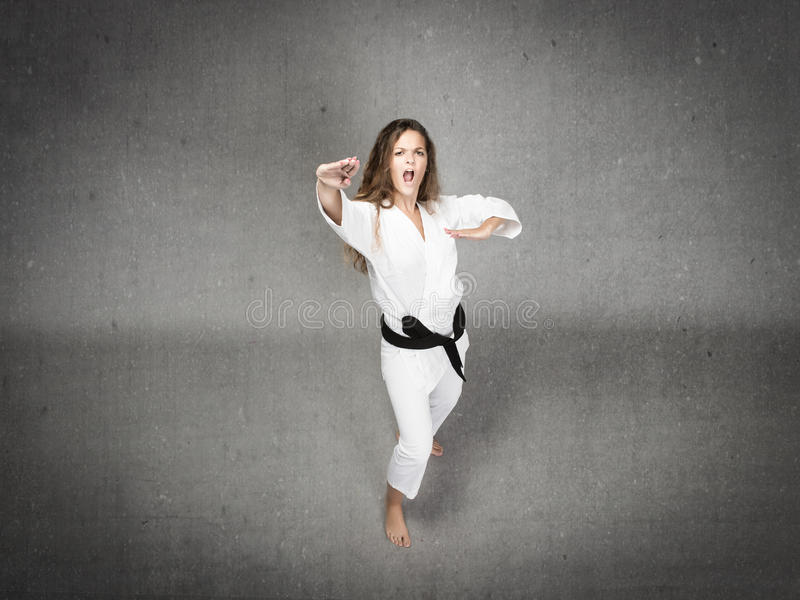 Karate κορίτσι έτοιμο να χτυπήσει στοκ φωτογραφίες