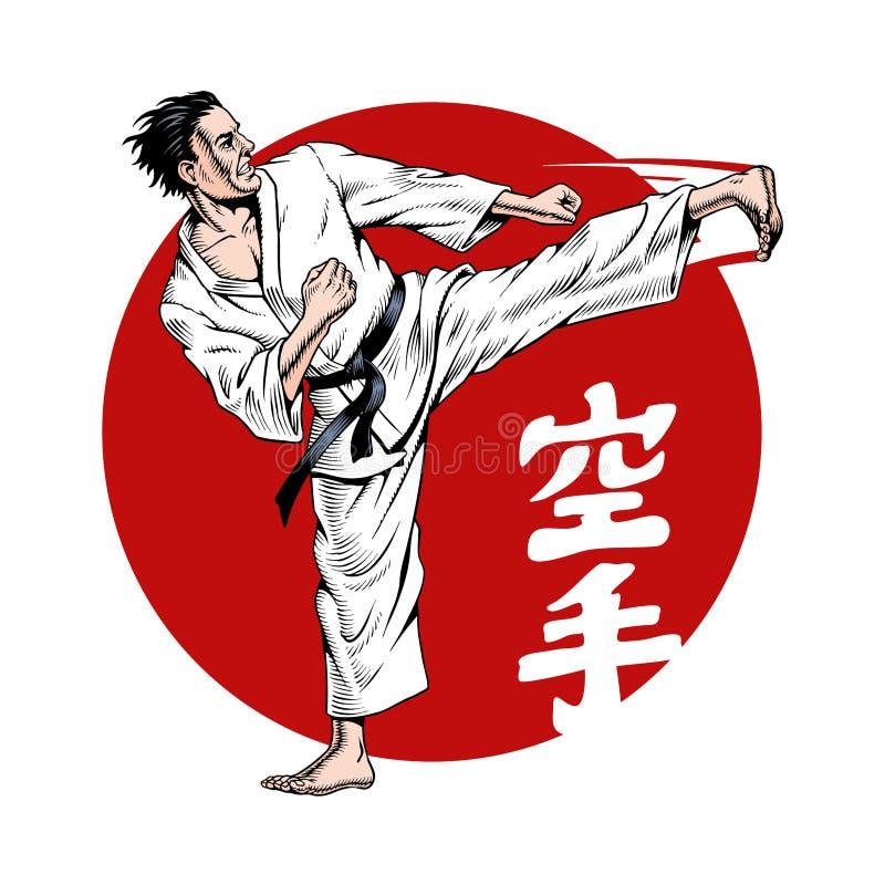 Karate λάκτισμα Πολεμικές τέχνες Η επιγραφή στην απεικόνιση είναι hieroglyphs karate, ιαπωνικά r απεικόνιση αποθεμάτων