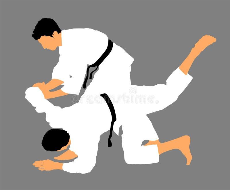 Karate μαχητές ατόμων στο κιμονό, απεικόνιση σκιαγραφιών Σκιαγραφία μάχης μαχητών τζούντου Παραδοσιακή πολεμική τέχνη της Ιαπωνία διανυσματική απεικόνιση