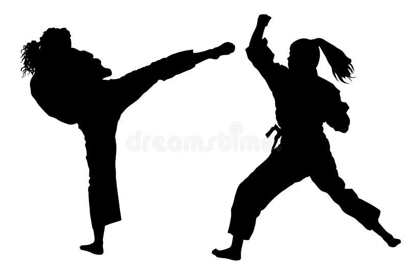 Karate μαχητές γυναικών στο κιμονό, σκιαγραφία Μόνος-αμυντική παρουσίαση διανυσματική απεικόνιση