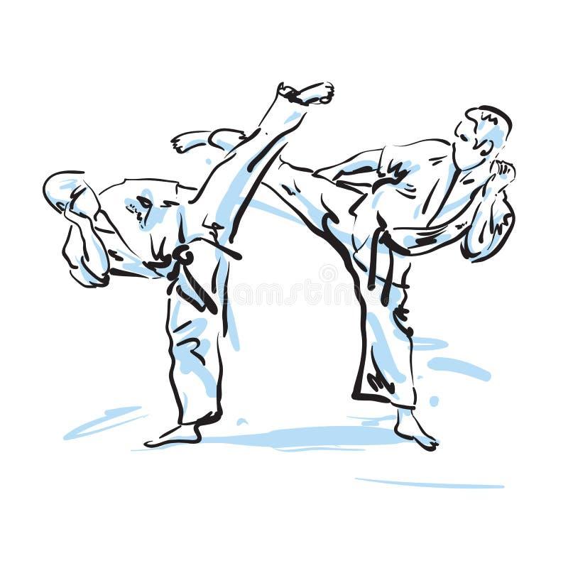 Karate μαχητές διανυσματική απεικόνιση