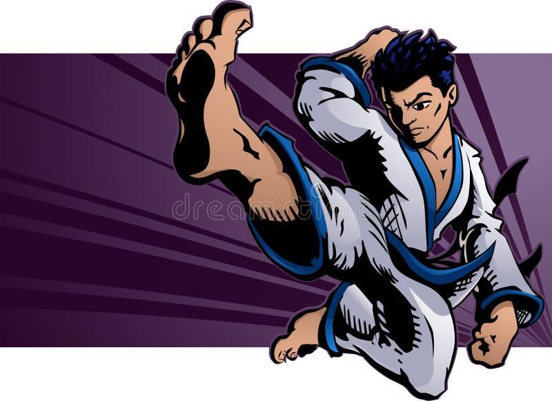 karate πετάγματος λάκτισμα ελεύθερη απεικόνιση δικαιώματος