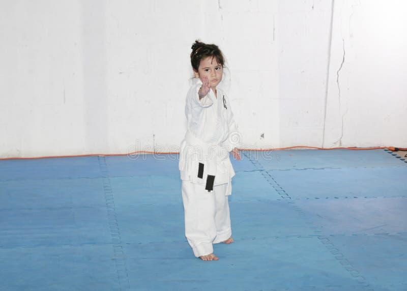 Karate πρακτικής μικρών κοριτσιών στοκ φωτογραφία με δικαίωμα ελεύθερης χρήσης
