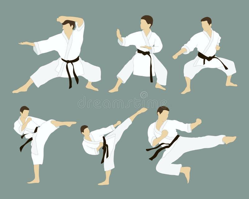 Karate σύνολο εικονιδίων διανυσματική απεικόνιση