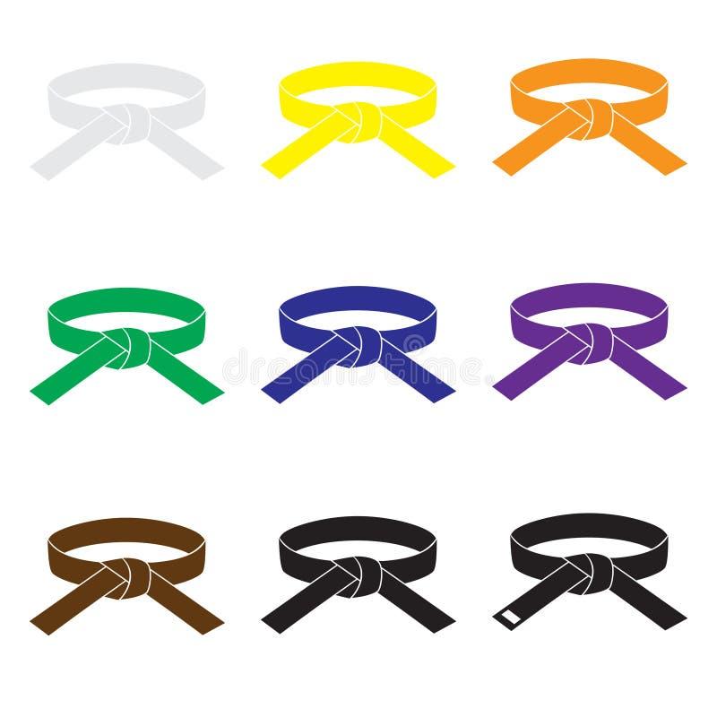 Karate τα εικονίδια ζωνών χρώματος πολεμικών τεχνών καθορισμένα eps10 διανυσματική απεικόνιση