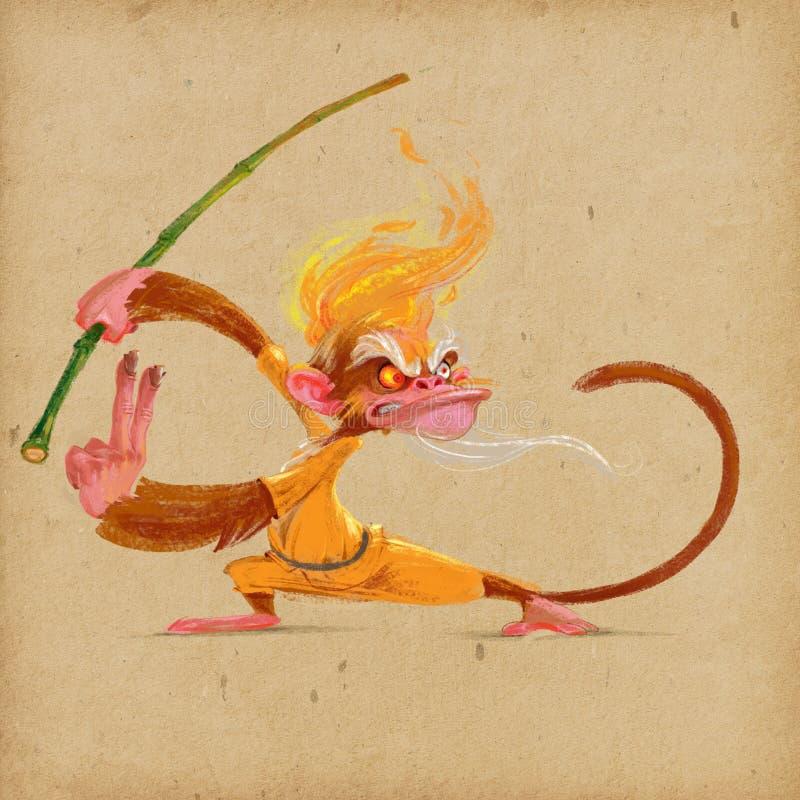 Karate χιμπατζής στο κίτρινο κιμονό ελεύθερη απεικόνιση δικαιώματος